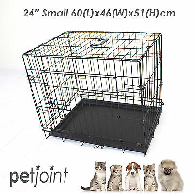 "24"" Pet Dog Cage Puppy Cat Collapsible Metal Crate Kennel Portable House Small"