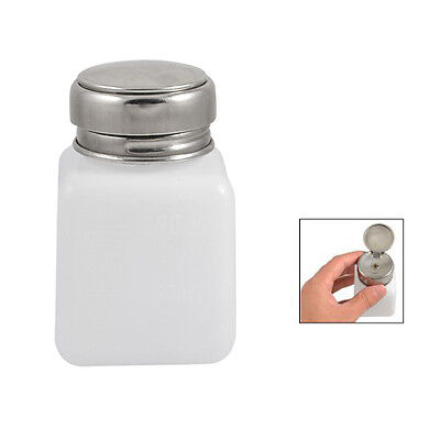 120mL White Silver Plastic Gruated Alcohol Dispensing Bottle w Pump Cap BF