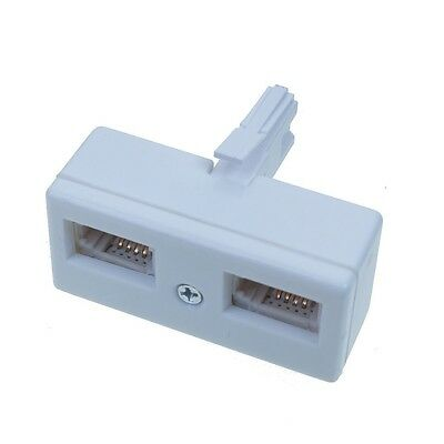 2 Way BT Telephone line Phone Socket splitter converter Y adapter one to Two UK