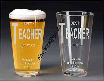 Personalised Engraved Best Teacher Pint Glass Birthday Party Gift by jevge 20