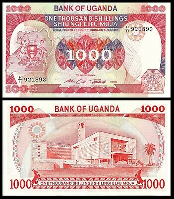 Uganda 1000 1,000 Shillings 1986 P 26 Unc (10 Notes)