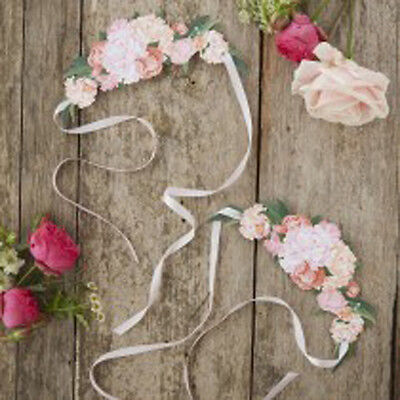 Pink Paper Tiaras for Boho Birthday Hen Party Props x 8
