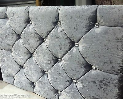 Market Style Crystal Diamonds Headboard CRUSHED VELVET AL SIZES HEIHGTS CHEAPEST