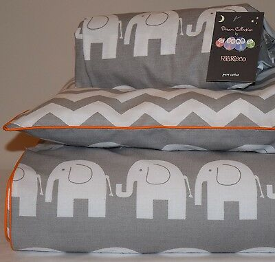 COTTON Cot Bed Duvet Cover Set & Fitted Sheet Grey Chevron Elephants orange