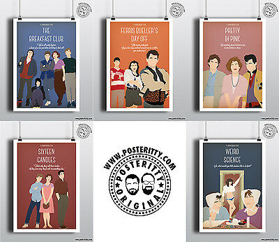 JOHN HUGHES COLLECTION 5 X Minimalist 80's Poster Set by Posteritty 1980s Films