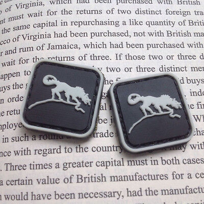 2x MINI SOLID WOLF BADGES TACTICAL ARMY MORALE 3D PVC RUBBER PATCH HOOK