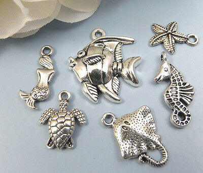6 UNDER the SEA Tibetan Silver Charms Collection Lot Set Beach Marine Fish