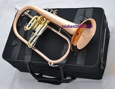 Professional Rose brass Bb Flugelhorn Cupronickl tuning Flugel Horn with Trigger