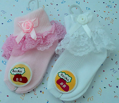 Gorgeous Pink Or White Lace Stretch Reborn Doll Or Baby's Socks.with Bow Rosette
