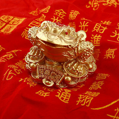 Gold Feng Shui Money Fortune Oriental Chinese I Ching Frog Toad Decor