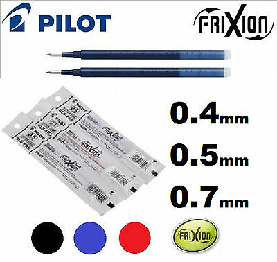 Pilot FRIXION Refills Erasable BLUE BLACK Red Ink CHOOSE HOW MANY 0.4 0.7 0.5mm
