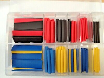 Assorted Box Of Heatshrink Tubing In Black Red Blue And Yellow Qty 160