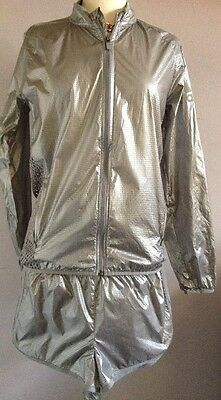 BNWT Silver Adidas Climalite Performance Shorts & Jacket Running Suit Size 14