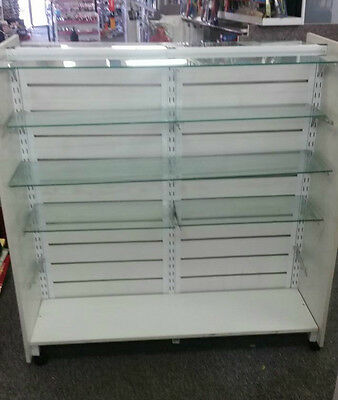 Retail Shop Fittings Doublesided Display (Standalone) - Adjustable Glass Shelves