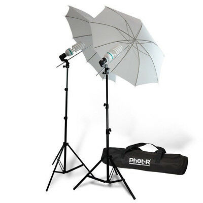 "Phot-R 2x125W Photography Studio 33"" Umbrella Continuous Lighting Stand Bulb Kit"