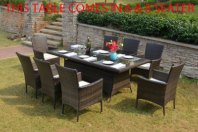 Rattan Garden Furniture Table With Parasol Hole 8 Seater  Aluminium Frame