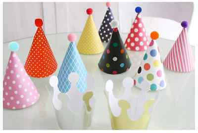 22 Stylish Crown Happy Birthday Party Silver Shimmer Paper Cone Hats Fun Game
