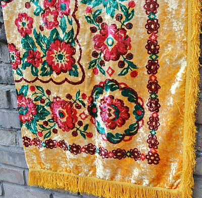 Vintage velvet plush tablecloth from Soviet era 1970's