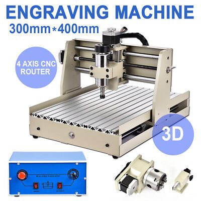 US 4 AXIS 400W CNC ROUTER 3040 ENGRAVER ENGRAVING MACHINE CARVING 3D CUTTER int