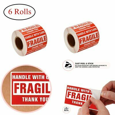 6 Rolls 2 x 3 FRAGILE Sticker Handle with Care Labels Free Shipping 500 Per Roll