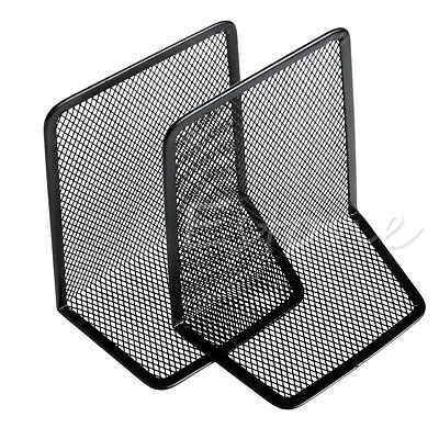 Metal Mesh Desk Organizer Desktop Office Home Bookends Book Holder Black 1 Pair
