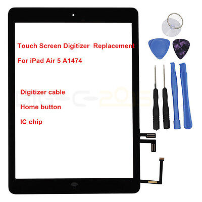 For iPad Air A1474 Touch Screen Digitizer Front Replacement Lens & Home Button