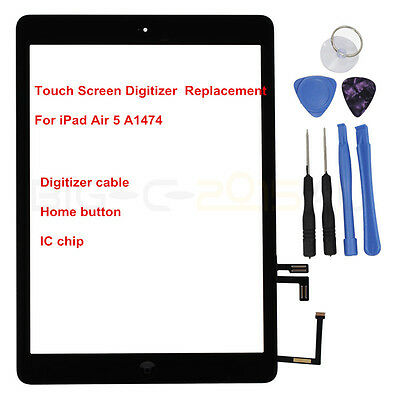 For iPad Air  A1474 Touch Screen Digitizer Front Lens with IC Chip Replacement