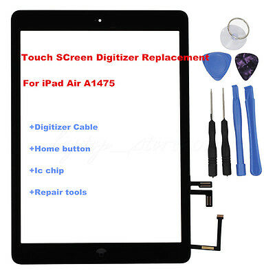 For iPad Air A1475 Touch Screen Glass Lens Digitizer Replacement & Home Button