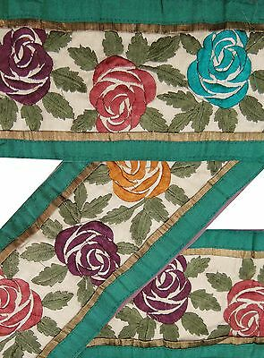 Vintage Sari Border Antique Used Embroidered Indian Trim Beige Ribbon Lace 1YD