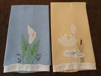 Vintage Set Blue Yellow Linen Guest Hand Towels Water Lilies Embroidered