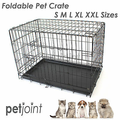 Pet Dog Cage Collapsible Metal Crate Portable Puppy Cat Rabbit Kennel / Divider