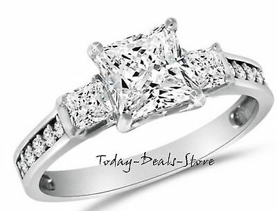 2.6 Ct Princess Cut Engagement Wedding Ring 3 Three-Stone Solid 14K White Gold