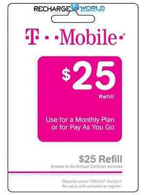 T-Mobile Prepaid $25 Refill. Real Time Reload Directly to Phone. No PIN Needed