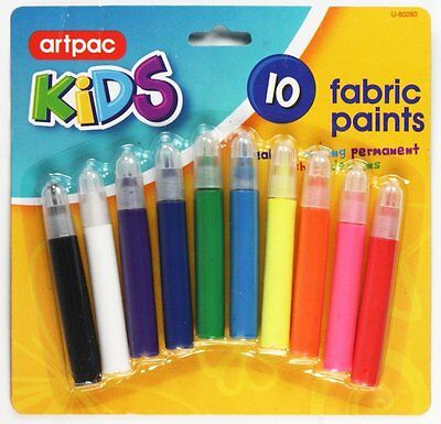 10 Assorted Colours Kids Fabric Paints For Making Permanent T-Shirt  Designs
