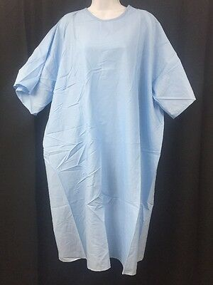 ONE NEW DOWLING TEXTILE Durable Press Universal Size Hospital Gown Blue