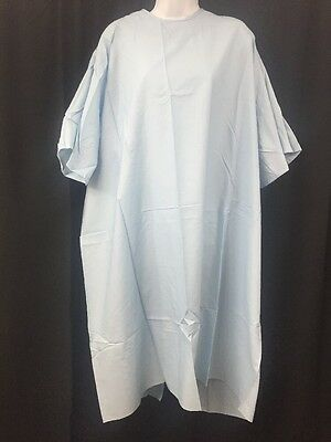 ONE NEW DOWLING TEXTILE Durable Press Universal Size Hospital Gown Light Blue
