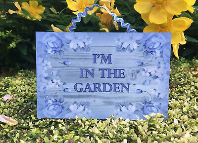 I'M IN THE GARDEN or SUMMERHOUSE Hanging Sign Metal or Wood Grey House Plaque