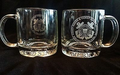 US Coast Guard Seal Etched Glass Mug UNITED STATES OF AMERICA + Ensign Set Of 2