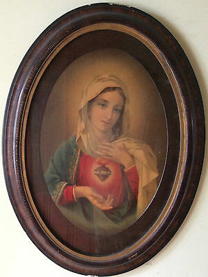 Antique Oval Virgin Mary Picture