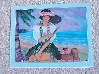 Diana Hansen-Young Hawaiian Picture Print Kahiko Huila Dancer
