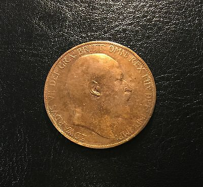 1905 Edward VII British Bronze Penny, One Penny, GREAT BRITAIN