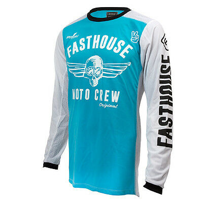 Fasthouse NEW Mx Original Dirt Bike Vintage Blue White Vented Motocross Jersey