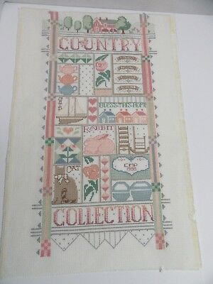 Finished Cross Stitch Country Collection Sampler Completed Pastel Teapot 3602