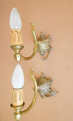 PAIR Vintage French gilded WALL Light SCONCES