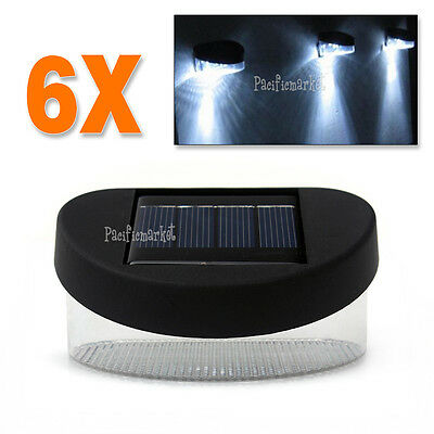 6X Solar Powered Fence Gutter Lamps Outdoor Garden LED Yard Wall Pathway Light