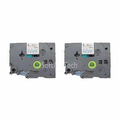 2pk Blue on Transparent Label Tape Compatible for Brother PTouch TZ TZe123 9mm