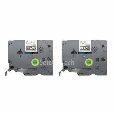 2pk White / Black Label Tape Compatible for Brother PTouch TZ 335 TZe 335 12mm