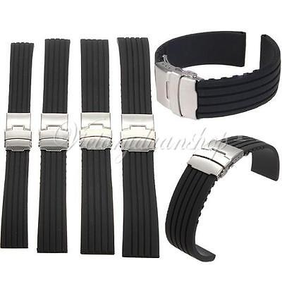 Mens Silicone Rubber Watch Strap Band Waterproof Deployment Clasp 20mm 22mm UK