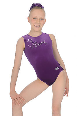 The Zone Fanfare Jewel Motif Velour Gymnastics Leotard Grape Purple Girls Sizes