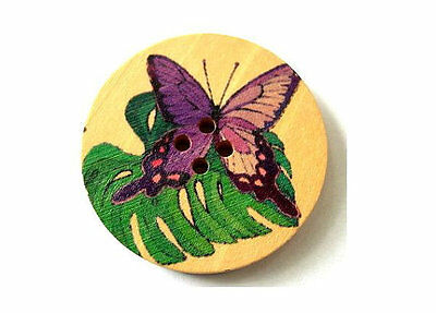 6 Wood buttons purple butterfly with green leaf, 38mm